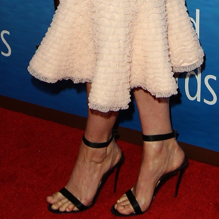 Greta Gerwig showing off her feet in Christian Louboutin's 'Jonatina' barely there heels