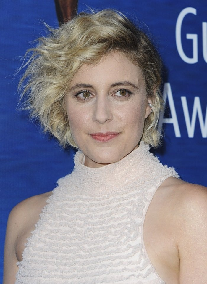 Greta Gerwig in a pink ruffle dress from Proenza Schouler's Spring/Summer 2018 collection at the 2018 Writers Guild Awards at The Beverly Hilton Hotel in Beverly Hills, California, on February 11, 2018