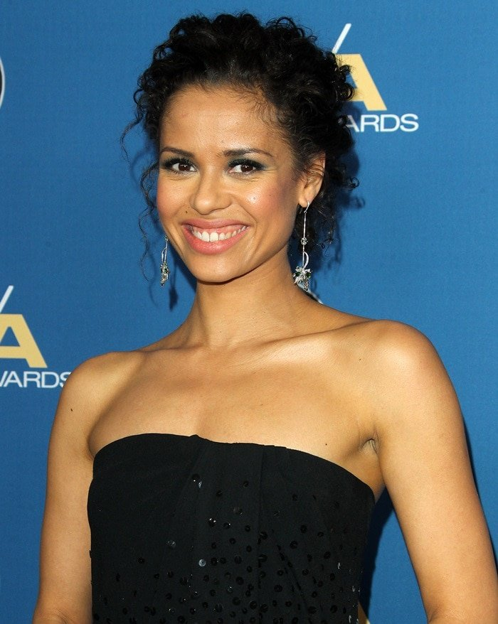 Gugu Mbatha-Raw wearing a stunning Oscar de la Renta gown at the 2018 Directors Guild of America Awards at the Beverly Hilton Hotel in Beverly Hills, California, on February 3, 2018