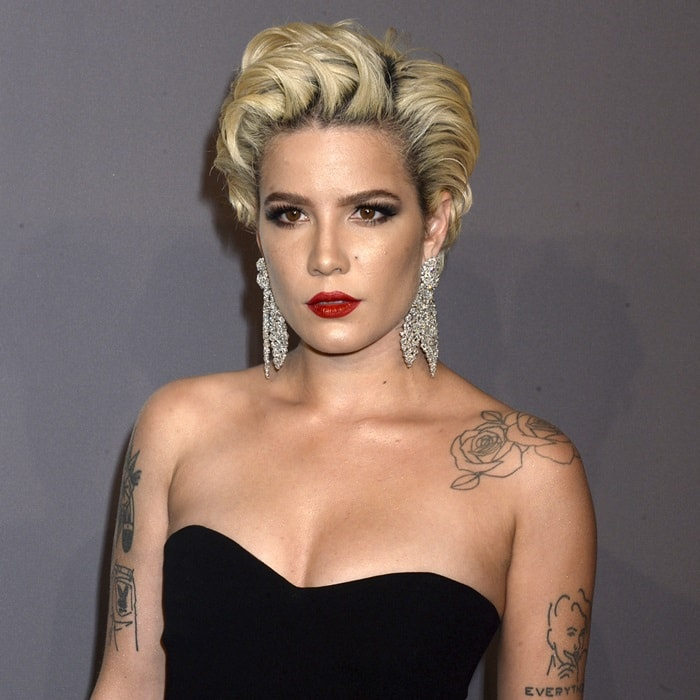 Halsey in a strapless black dress from the Georges Hobeika Spring 2018 Collection