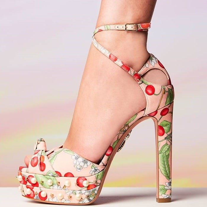 Cherry Blossom Print 'Harlow Pearls' 140 Plateau Sandals