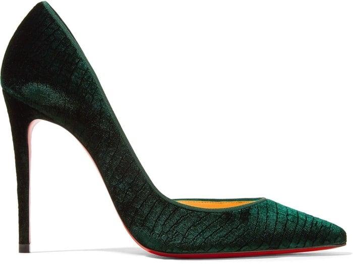 'Iriza' 100 croc-effect velvet pumps