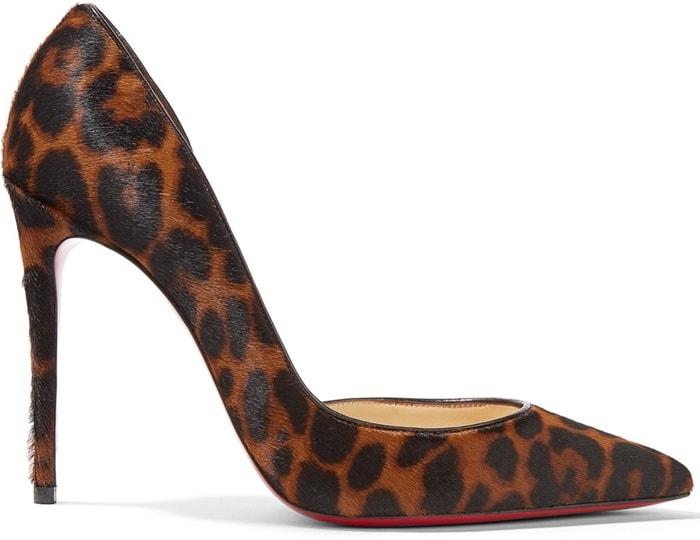 'Iriza' 100 leopard-print pony hair pumps
