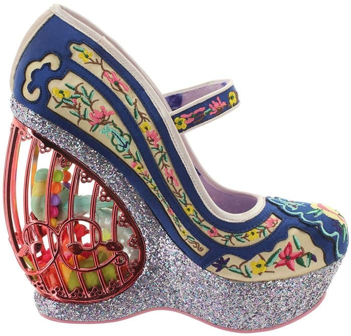 Irregular Choice 'Ava's Aviary' Floral Embroidered Wedge
