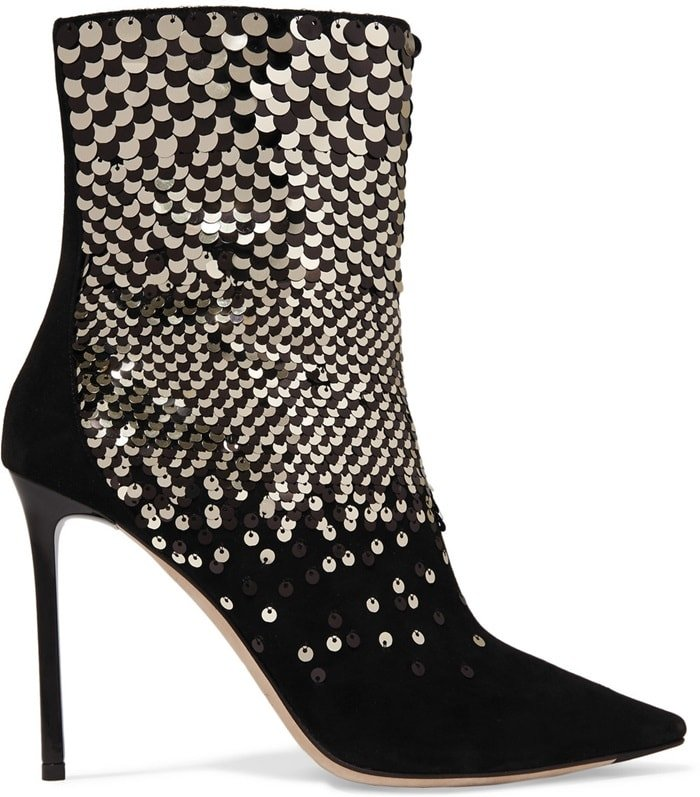 These pointed suede ankle boots are carefully stitched with sparkling black and gold paillettes in a dégradé effect