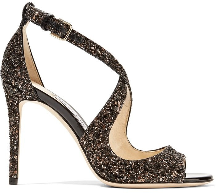 These 100mm stiletto sandals are saturated in flecks of black and bronze glitter this season
