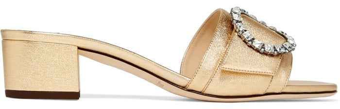 'Granger' 35 crystal-embellished metallic textured-leather slides