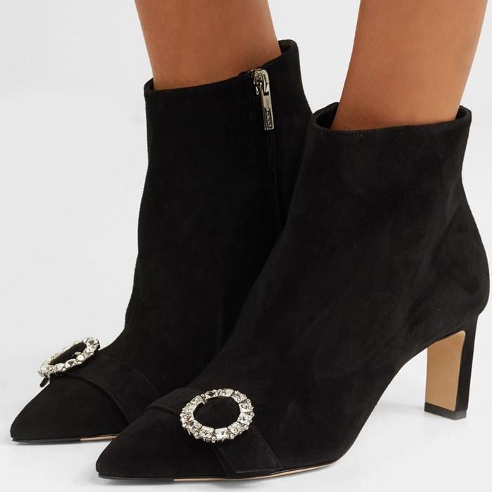 'Hanover' 65 crystal-embellished suede ankle boots