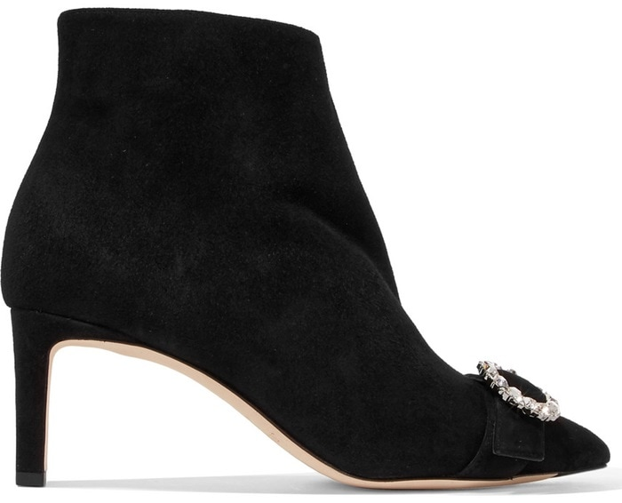 These black suede retro boots are punctuated with a crystal-embellished buckle