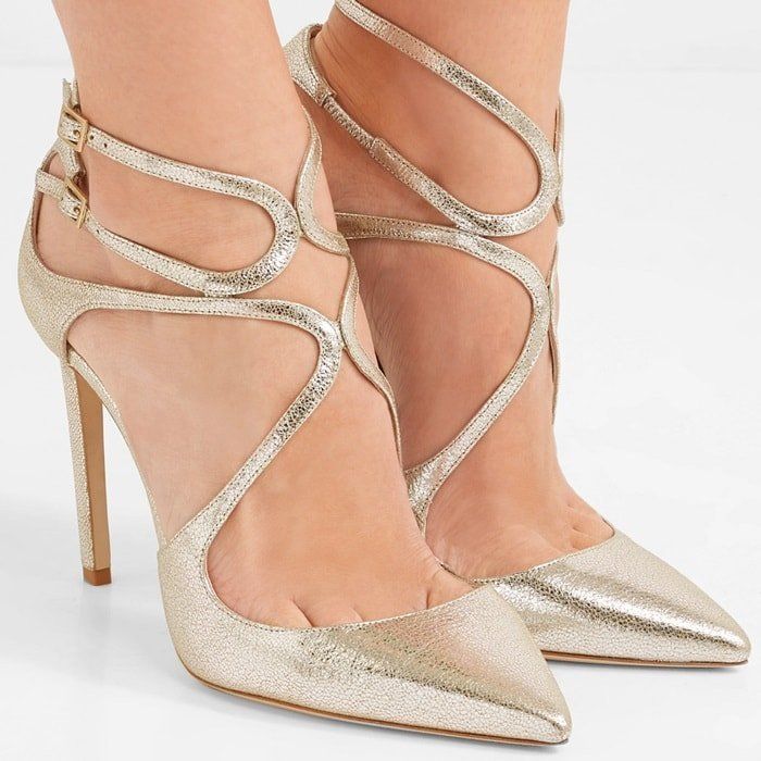 'Lancer' 100 metallic cracked-leather pumps
