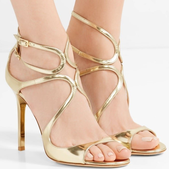 'Lang' 100 metallic leather sandals