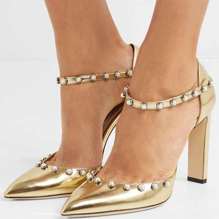 'Leema' 100 embellished metallic leather pumps