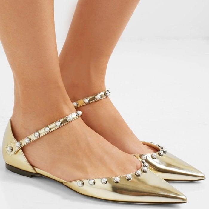 'Leema' faux pearl-embellished Cinderella flats