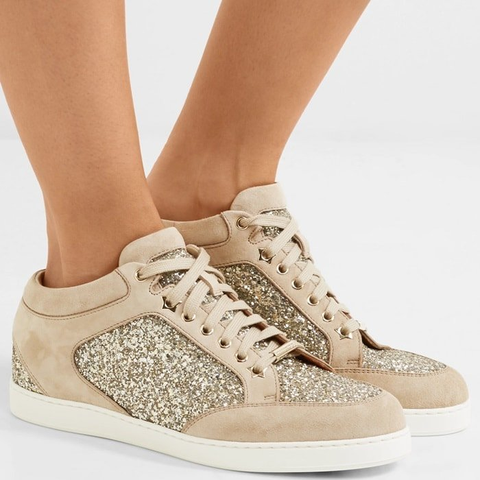 Perfect for fans of the brand's glamorous designs, Jimmy Choo's 'Miami' sneakers are paneled with glitter at the heel, side and toe. They're made from supple beige suede and have cushioned padding at the ankle, so you know they're going to be just as comfortable as they are pretty.