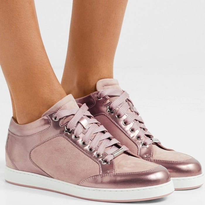 Jimmy Choo's 'Miami' sneakers are the perfect mix of chic and casual. Made in Italy, they're cut from glossy rose gold patent-leather and paneled with soft antique-rose suede. We love how the stars on the sole are revealed as you walk or sit with crossed legs.