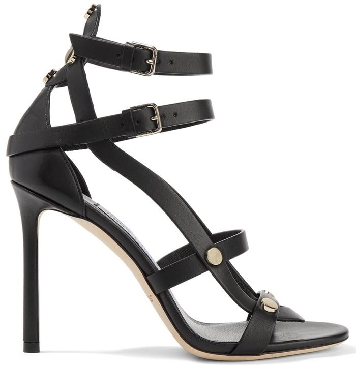 Set on a 100mm heel, these supple leather sandals are punctuated with polished gold studs and have slim buckled straps