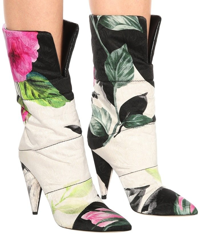 The pointed-toe design is crafted from brightly hued floral jacquard complete with a quilted effect