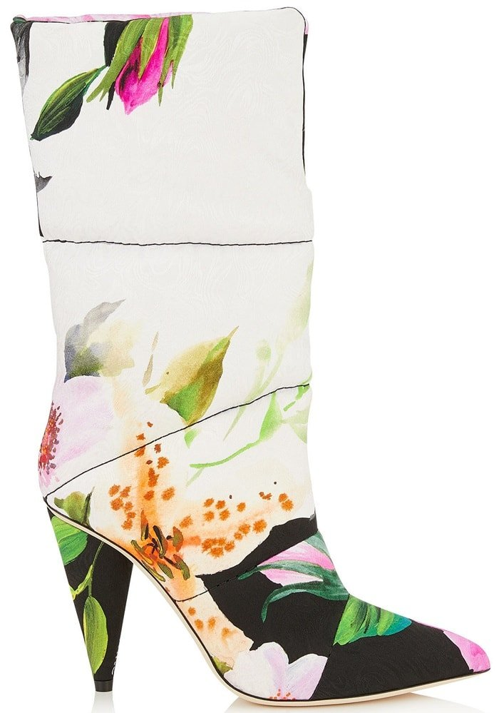 Jimmy Choo + Off-White 'Sara' 100 floral jacquard boots
