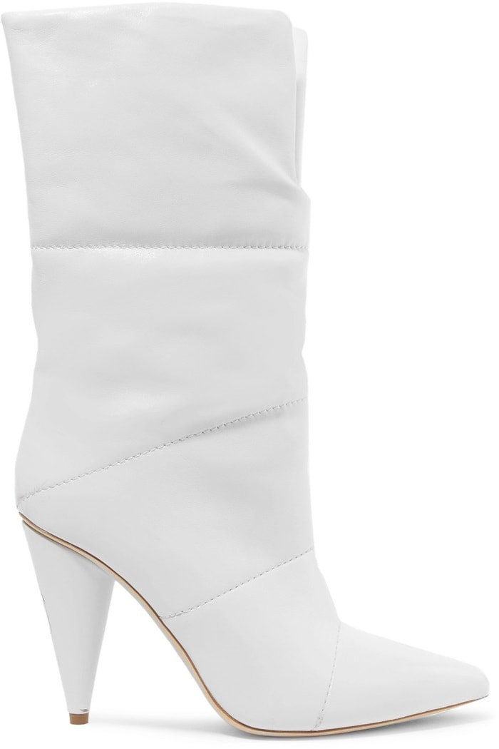 This leather pair is quilted and set on a conical heel, and has a sleek pointed toe