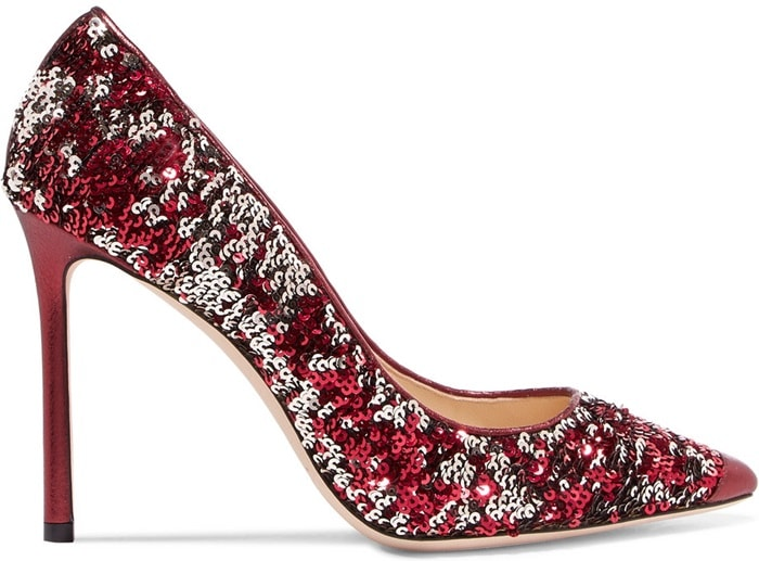 This sparkling pair featuring sparkling double-faced sequins is part of a festive party capsule