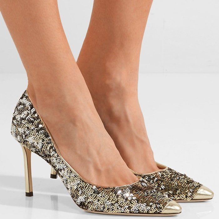 'Romy' 85 sequined leather pumps