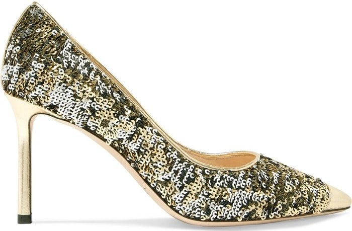 These pumps are covered in double-sided sequins that are gold on one side and silver on the other
