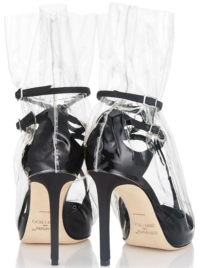 'Claire' 100 plastic bag pumps in black satin