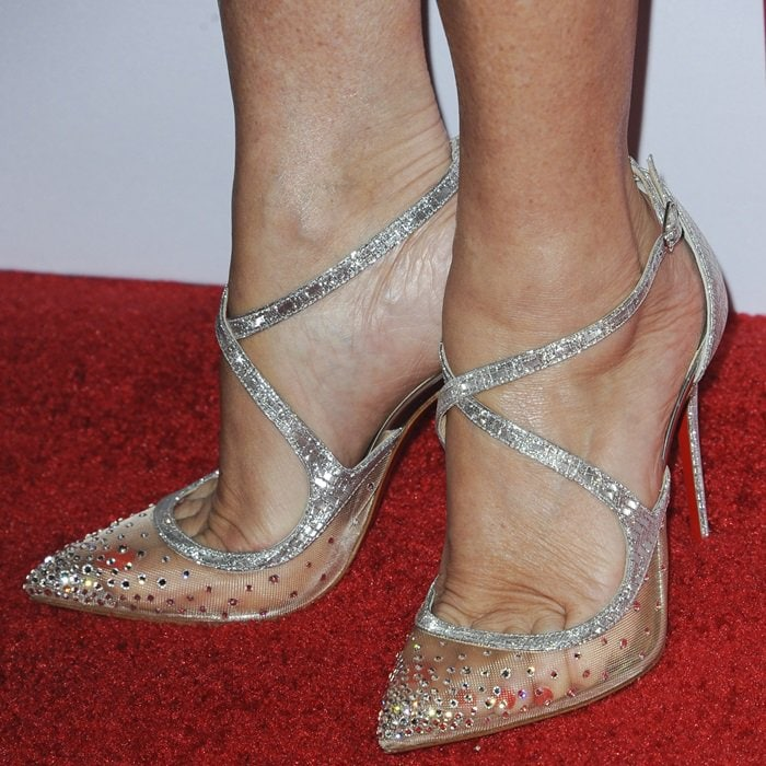 Jane Seymour showing off her pedicure in Christian Louboutin's 'Twistissima Strass' pumps