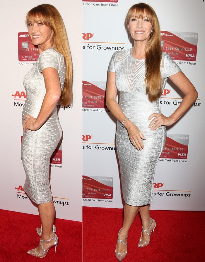 Jane Seymour wearing a metallic dress at AARP's 2018 Movies For Grownups Awards held at the Beverly Wilshire Four Seasons Hotel on Monday in Beverly Hills, California