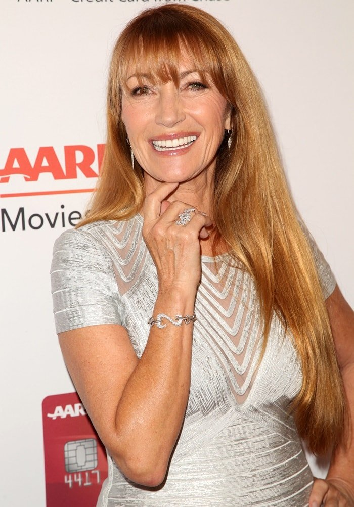 Jane Seymour accessorized with diamond jewelry