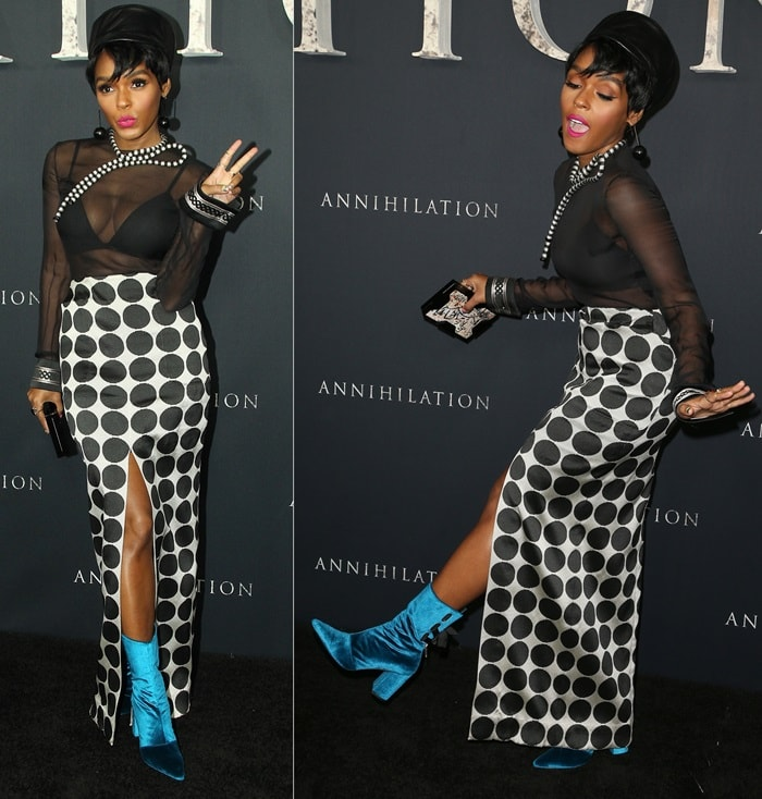 Janelle Monae finished off her ensemble with a black St. Germaine hat, a Lee Savage clutch, jewelry by Giorgio Armani and Lilou, and blue 'Kibbon' peacock boots