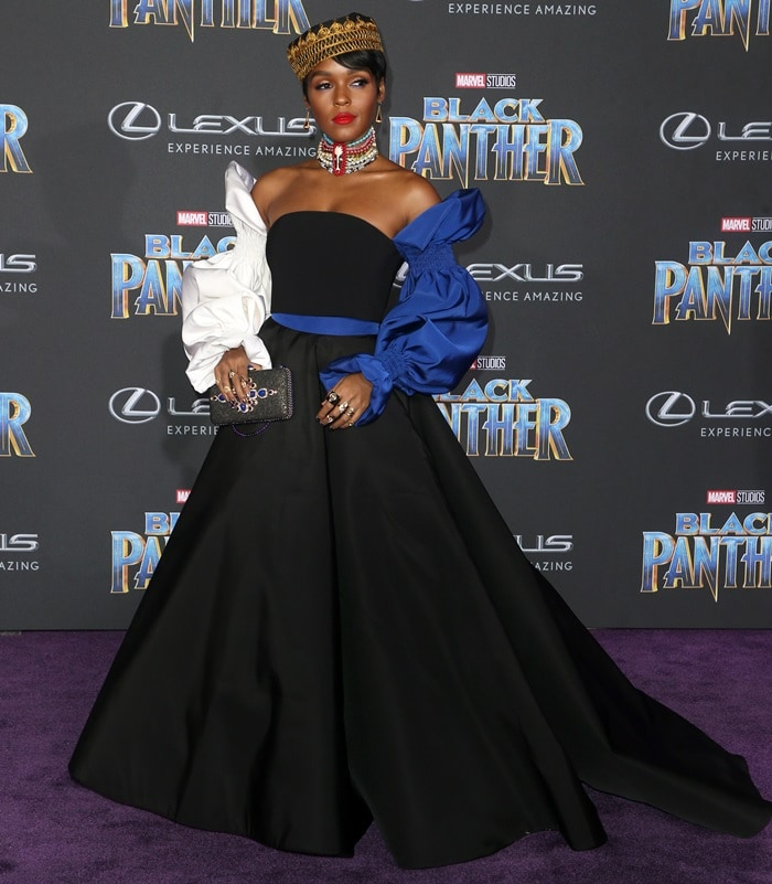 Janelle Monae wearing an outfit from Christian Siriano's Pre-Fall 2018 collection at the world premiere of 'Black Panther' held at the Dolby Theatre in Hollywood on January 29, 2018