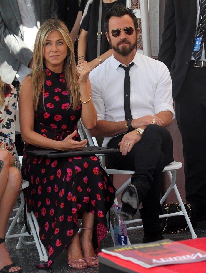 Jennifer Aniston and Justin Theroux  helped celebrate Jason Bateman's star on the Hollywood Walk of Fame in Hollywood, California, on July 26, 2017