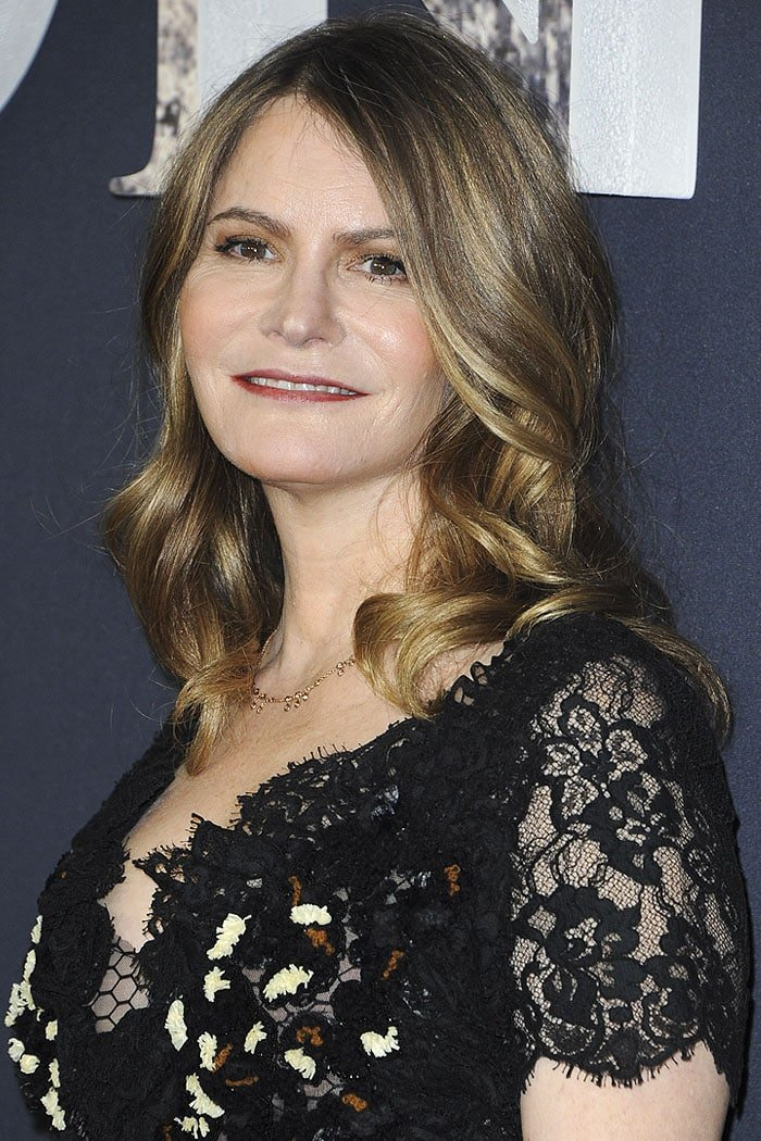 "Jennifer Jason Leigh at the premiere of ""Annihilation"" at the Regency Village Theatre in Westwood, California, on February 13, 2018"