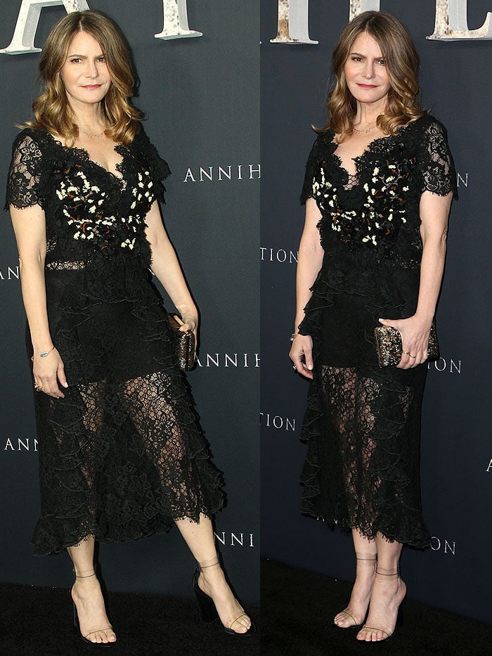 Jennifer Jason Leigh wearing a Rodarte Spring 2017 lace dress with Marskinryyppy 'Piwi' sandals