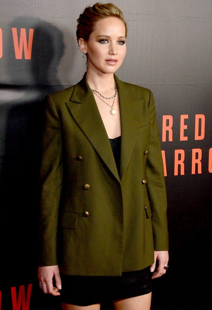 Jennifer Lawrence wearing Ralph Lauren and Alexander McQueen at a screening of her movie 'Red Sparrow' at Newseum in Washington, D.C., on February 15, 2018