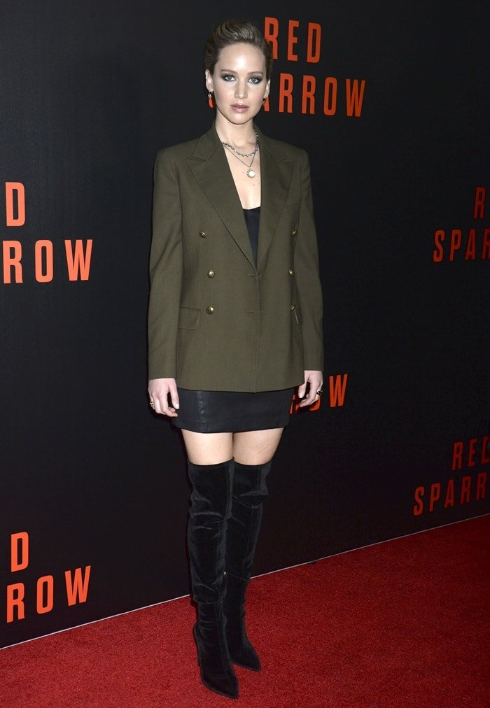 Jennifer Lawrence wearing Ralph Lauren and Alexander McQueen with Stella Luna's Eventail boots at a screening of her movie 'Red Sparrow' at Newseum in Washington, D.C., on February 15, 2018