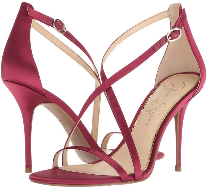 f6dce9885b65 Slim straps crisscross on a stiletto sandal that channels modern glamour