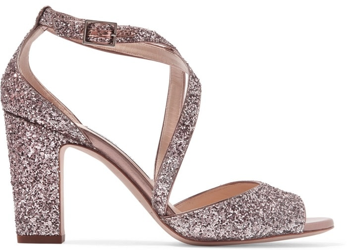 Jimmy Choo 'Carrie' Glittered Leather Sandals