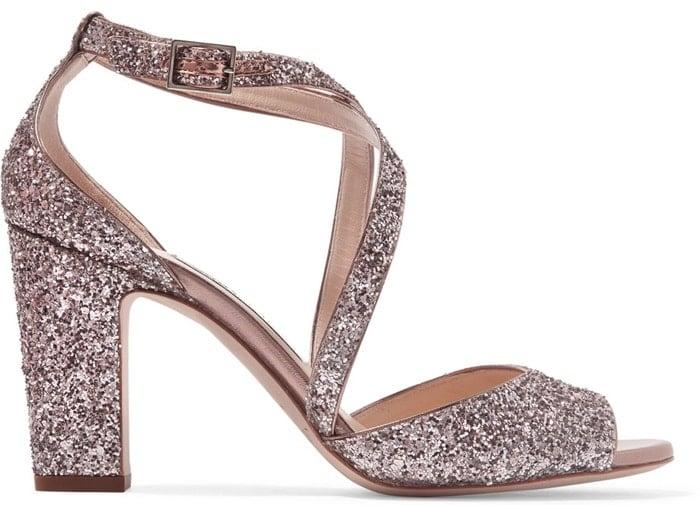 Jimmy Choo 'Carrie' Glittered Leather Sandals