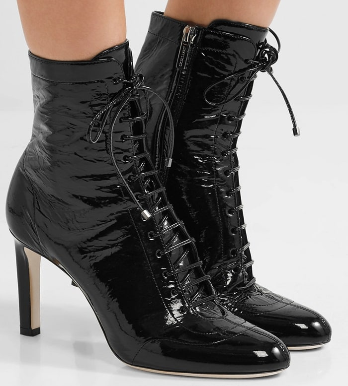 These Victorian-inspired 'Daize' boots have been made in Italy from wet-look patent-leather and are lined in matte leather for a smooth fit