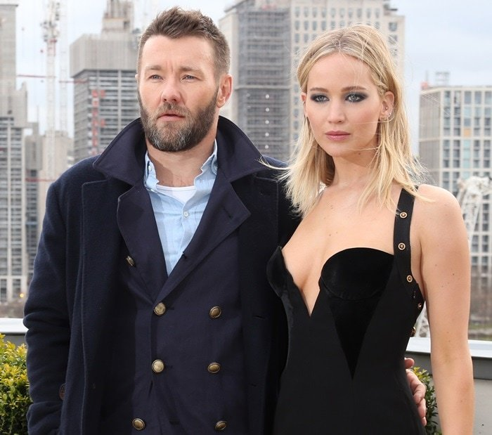 Joel Edgerton and Jennifer Lawrenceposing for photographs at the photo call for their latest film 'Red Sparrow' held at The Corinthia Hotel in London, England, on February 20, 2018