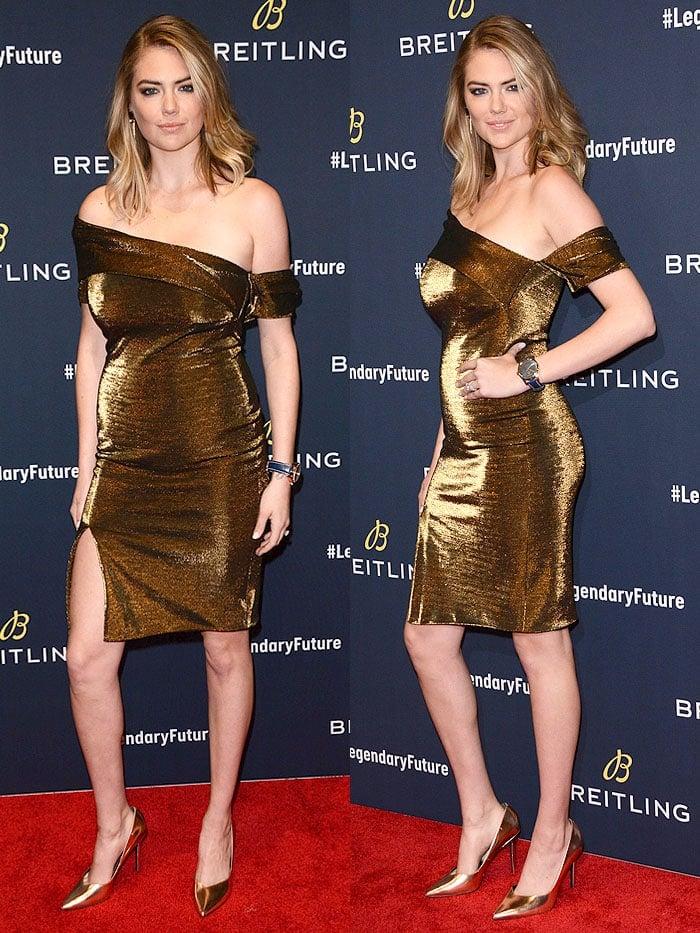 Kate Upton wearing a Haney 'Emily' gold off-shoulder dress with Stella Luna' Indispensable' gold pumps