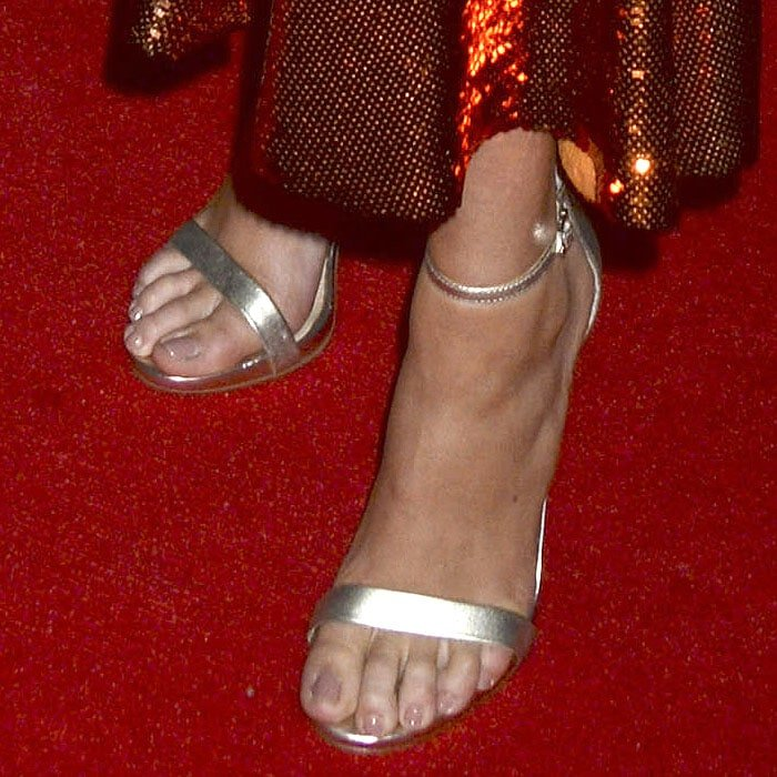 """Kate Upton's feet in Sam Edelman """"Amee"""" ankle-strap sandals"""