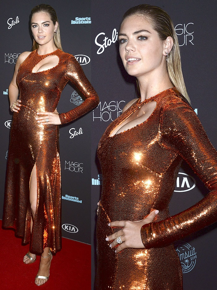 Kate Upton wearing an Emilio Pucci Fall 2017 copper sequined gown with Sam Edelman 'Amee' sandals.