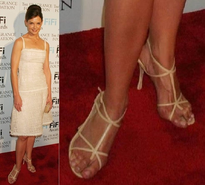 Katie Holmes showing off her corn-filled toes at The Fragrance Foundation's 33rd Annual 'FiFi' Awards at the Hammerstein Ballroom on April 7, 2005 in New York City