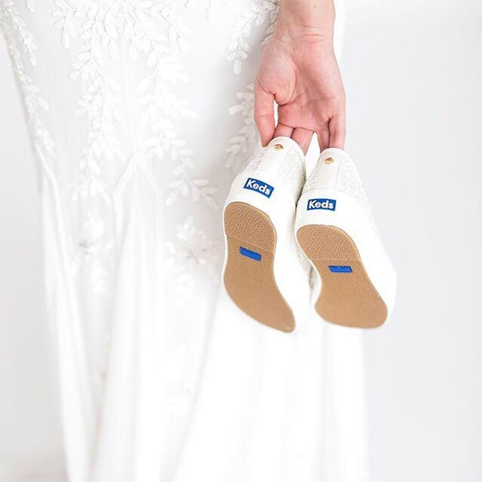 Keds bridal sneakers something new something blue.