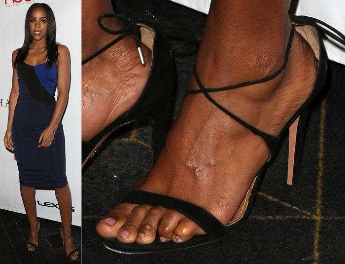 Kelly Rowland showing off her corny feet at the 2016 Hollywood Beauty Awards Benefiting Children's Hospital Los Angeles held at Avalon in Hollywood on February 21, 2016