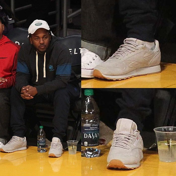 Kendrick Lamar wearing his Kendrick Lamar x Reebok 'Classic Leather' sneakers