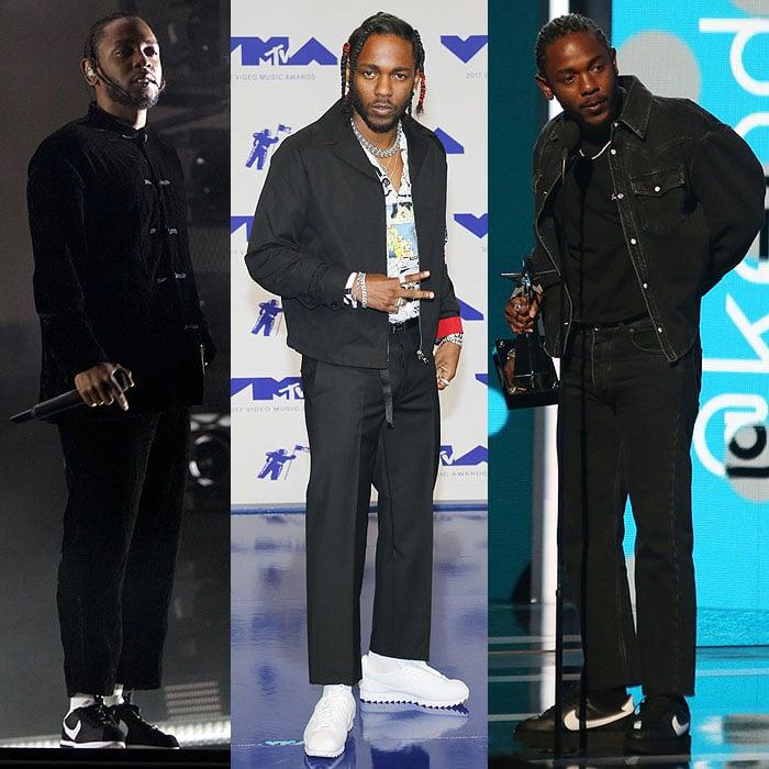 Kendrick Lamar wearing Nike 'Cortez' sneakers